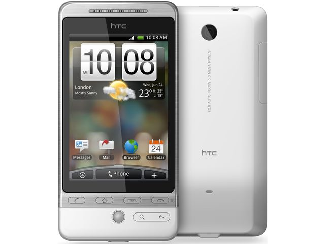obsah balení HTC Hero bílá + autonabíječka miniUSB