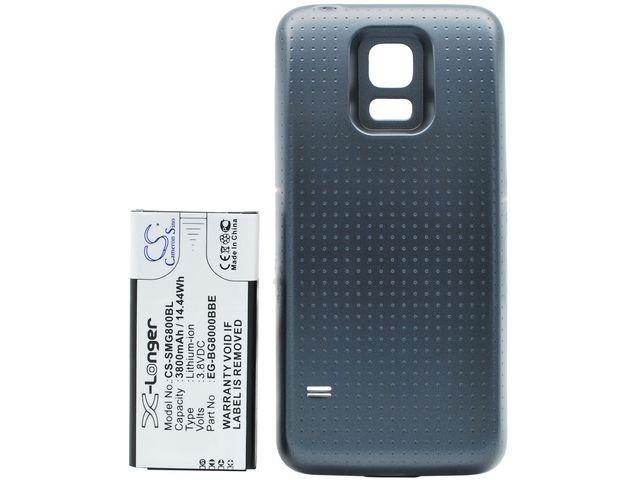 obsah balení Baterie pro Samsung Galaxy S5 mini rozšířená včetně zadního krytu černá, Li-Ion, 3800 mAh + univerzální nabíječka baterií