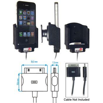 Brodit držák do auta na Apple iPhone 4/4S bez pouzdra, bez nabíjení, s průchodkou pro Parrot MKi
