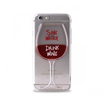 """Puro zadní kryt pro Apple iPhone 6/6s """"Save Water Drink Wine"""", transparentní"""