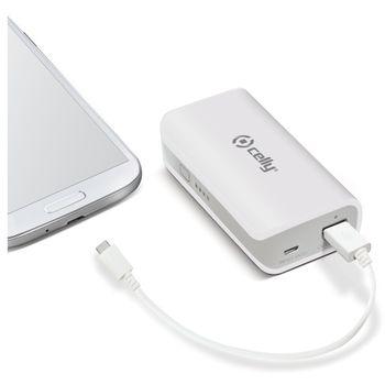 CELLY záložní baterie s USB výstupem, microUSB kabelem a LED svítilnou, 4000 mAh, 1A, bílá