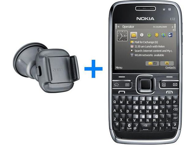 obsah balení NOKIA E72 Zodium Black + Nabíjecí sada na kolo Nokia