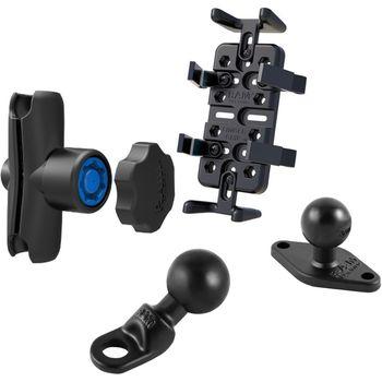 RAM Mounts univerzální držák na mobilní telefony, vysílačky, GPS navigace Finger-Grip s ramenem se zabezpečením na motorku na zpětné zrcátko s Ø do 9 mm, sestava RAM-B-180-UN4-KNOB3U