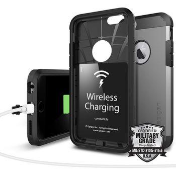 Spigen nabíjecí bezdrátový kryt Tough Armor Volt pro iPhone 6/6S s QI standardem, kovově šedé