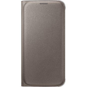 Samsung flipové pouzdro s kapsou EF-WG920PF pro Galaxy S6, imitace kůže, zlatá