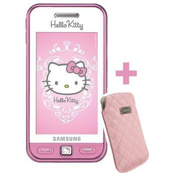 Samsung S5230 Star White pink Hello Kitty + Krusell pouzdro Coco Pouch (růžová)