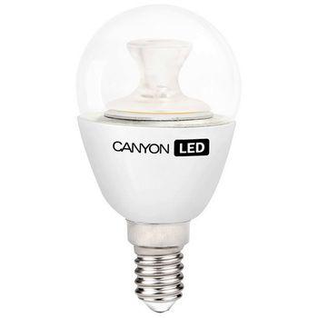 Canyon LED žárovka, (ekv. 25W) E14, kompakt kulatá, průhledná, 3.3W, 250 lm, teplá bílá 2700K
