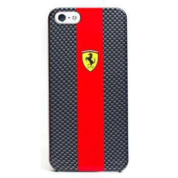 Ferrari Carbon zadní kryt pro iPhone 5, červený