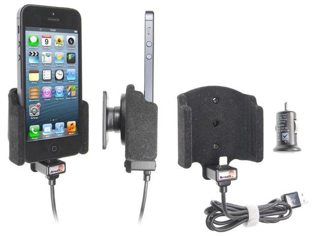 obsah balení Brodit držák do auta se sametový povrchem pro iPhone 5 s nabíjením + adaptér pro snadné odebrání držáku z proclipu